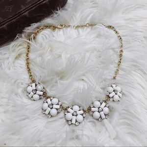 J Crew Cluster White Crystal Statement Necklace